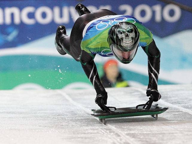 Ireland's Pat Shannon in action during the Men's Skeleton qualifying