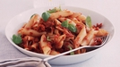 Penne Pasta, Fresh Pesto with Olives, Sun-dried Tomatoes and Parmesan - This is a very simple and quick dish to prepare
