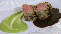 Loin of Lamb in Crisp Potato Crust - Served with Tarragon Jus with Pea and Mint Puree. This dish can be prepared well in advance as, once wrapped in the potato crust, the lamb will sit happily for an hour or two before roasting.