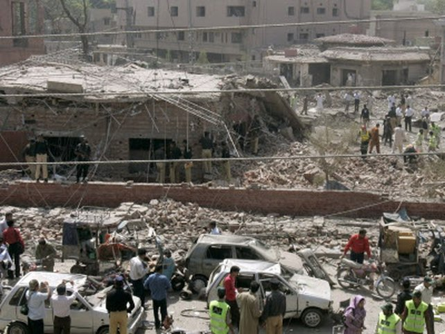 Lahore - Blast destroys front of building