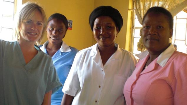 Deirdre Mullins with nurses in Uganda