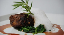 Coffee-Rubbed Beef Tenderloin, Baby Spinach, Horseradish Foam