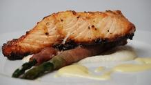 Mustard Glazed Salmon with Asparagus, Parma Ham and Celeriac Purée