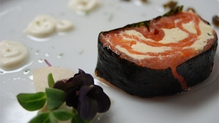 Smoked Salmon Terrine in Nori Seaweed with Crispy Capers & Dill Oil
