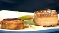 Slow Cooked Pork Belly, Parsnip Puree, Fondant Potato and Sherry Vinegar and Orange Sauce - You could add a few baby leeks to this or a little wilted cabbage.