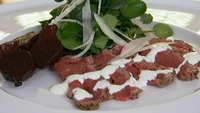 Beef  Carpaccio with Horseradish Cream and Rocket - Carpaccio is typically a raw fillet, but this one's a little different.