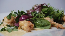 Pan Fried Prawns with Dressed Baby leaves and Crispy Ciabatta bread