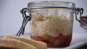 Rice Pudding, Rhubarb and Ginger, Gwen's Shortbread Biscuits: The Restaurant
