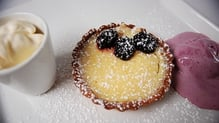Zesty Lemon Tart, Blackberry Ice Cream