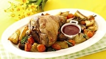 Roast Leg of Lamb with Root Vegetables and Raspberry Compote