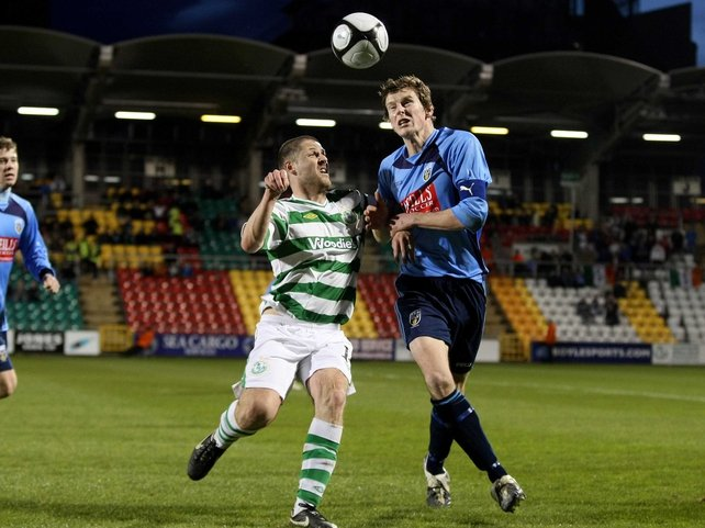 Graham Barrett of Shamrock Rovers and UCD's Evan McMillan in action at Tallaght Stadium