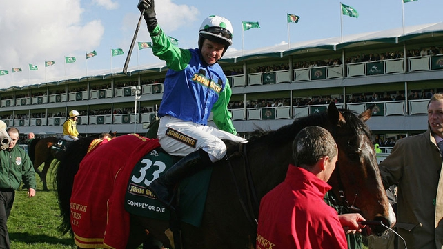 Timmy Murphy carried Johnson's colours to victory in the 2008 Grand National on Comply Or Die.