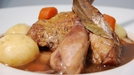 Guinea Fowl Stew - To serve, divide the guinea fowl and vegetables into four serving dishes and drizzle generously with the thickened sauce.
