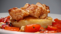 Roast Monkfish Tail, Sweet Red Peppers, Cashew Nuts and Pandy Pattie - Irish and Eastern tastes combine.