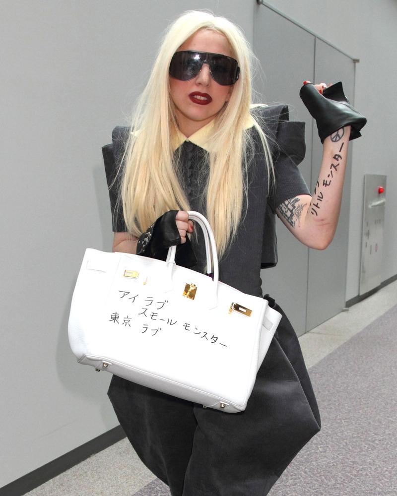Lady Gaga customised white Birkin bag