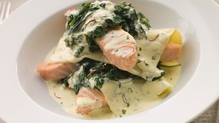 Seafood Lasagne With Purple Broccoli and Wilted Spinach