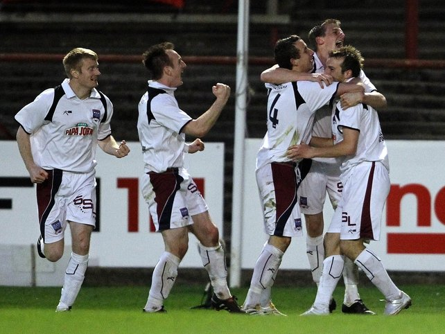 Karl Sheppard celebrates his second goal against the Gypsies