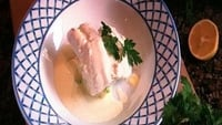 Poached Hake On Scented Mash with Lemon Butter Sauce - A lovely meal perfect for a dinner party.