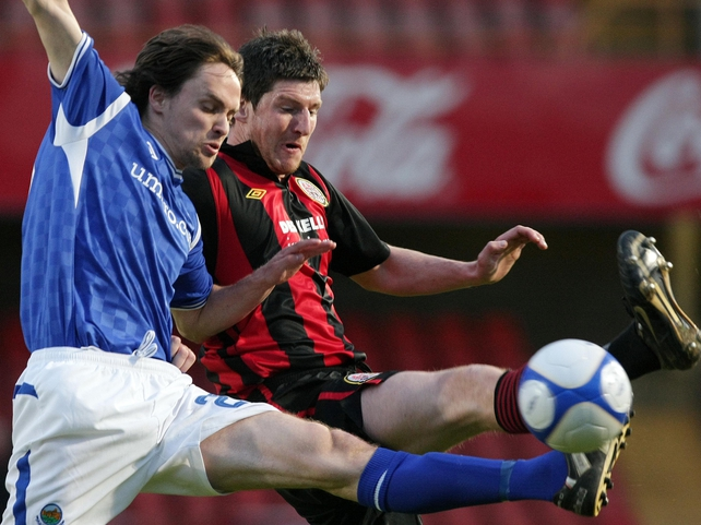 Linfield's Paul Munster and Ken Oman of Bohemians