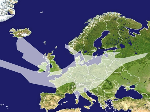 Europe - Ash coverage over Europe on 20 April