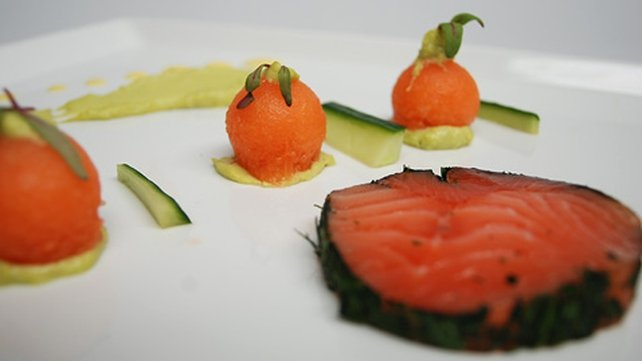 Cured Organic Salmon with Melon and Avocado Purée