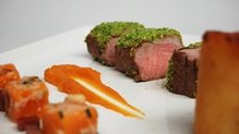 Loin of lamb with Parsley Crust, Butternut Squash and Pancetta