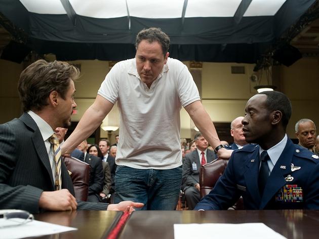Director Jon Favreau (centre) on set