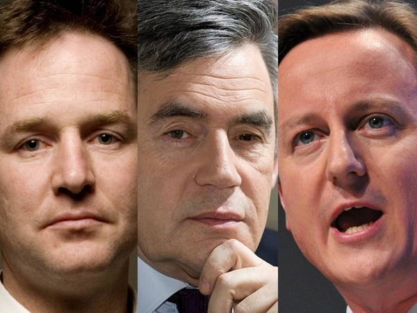 Clegg, Brown & Cameron - Exit Poll suggests Tory win