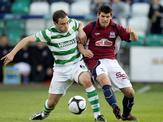 Shamrock Rovers' Stephen Rice & Galway United's Gary Curran in action at Tallaght Stadium