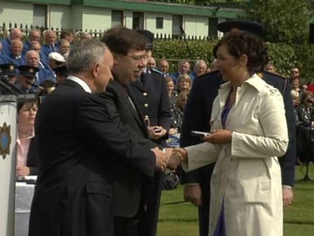 Dublin Castle - Stacey McCabe, daughter of Det Gda Jerry McCabe presented with medal