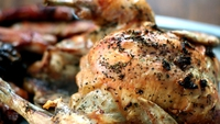 Roast Chicken with Lemon, Garlic and Thyme - There is something very exciting about a whole roast chicken brought to the table - to me it reminds me of family Sunday lunches. The flavours here are really fantastic and really penetrate the flesh of the chicken.