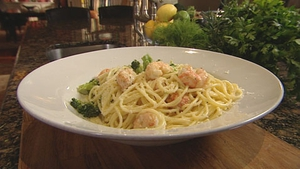 A delicious and speedy fish dish from Martin Shanahan, Spaghetti with Prawns.