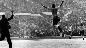 Zito celebrates a goal for Brazil in the 1962 final