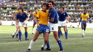 Zico (left) couldn't believe his 'goal' didn't stand