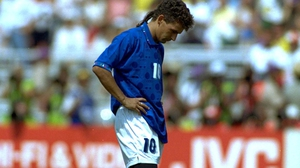 Roberto Baggio immediately after missing his spot-kick