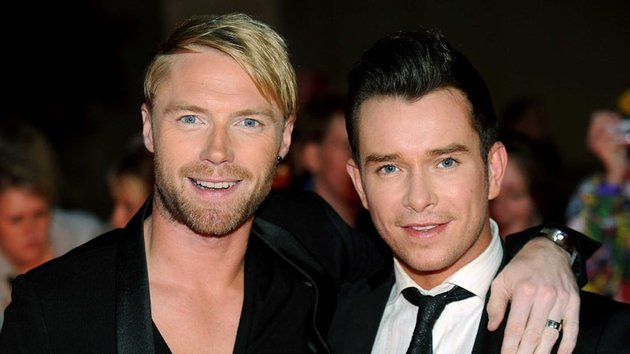 Stephen with Boyzone mate Ronan Keating