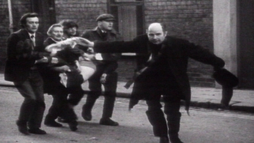 Bishop Daly was filmed waving a bloody handkerchief on Bloody Sunday