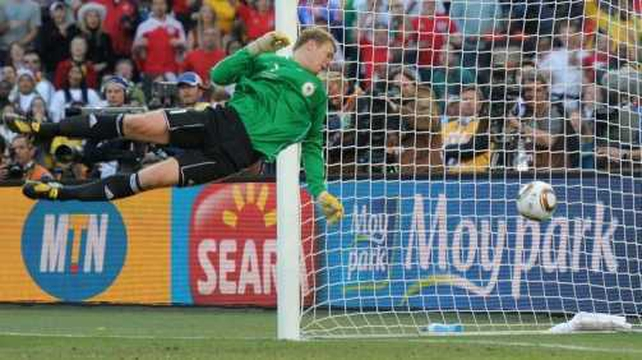 Goal-line technology - Manuel Neuer watches Frank Lampard's shot bounce over the line