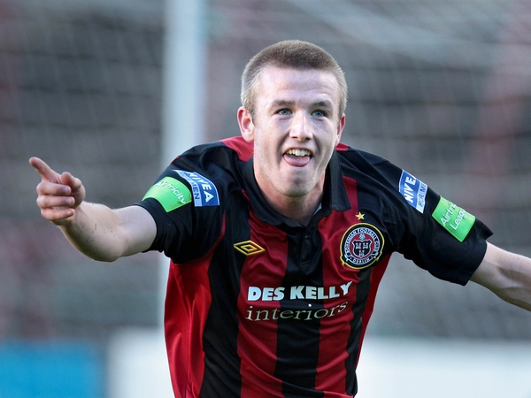 Paddy Madden celebrates opening the scoring for Bohemians