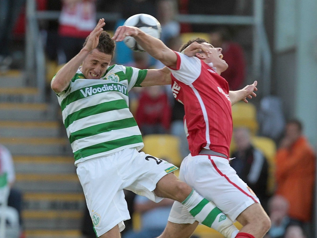 Shamrock Rovers' Billy Dennehy challenges David McAllister of St Patrick's Athletic