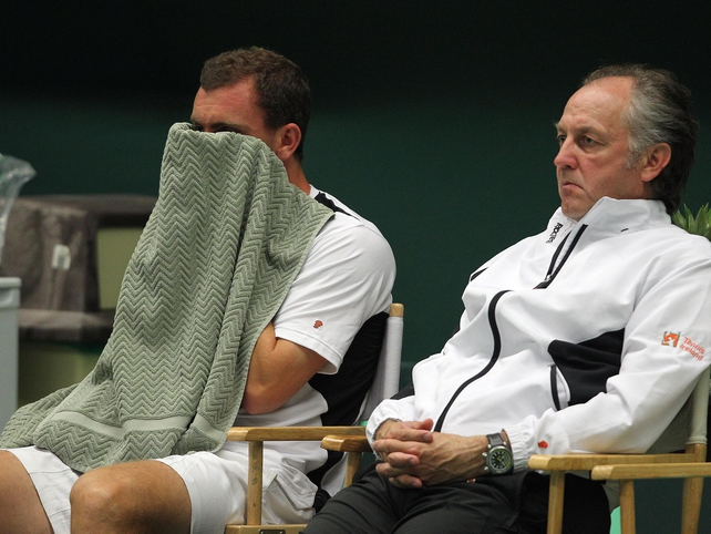 Ireland's Davis Cup team endured a tough evening at the Fitzwilliam Lawn Tennis Club