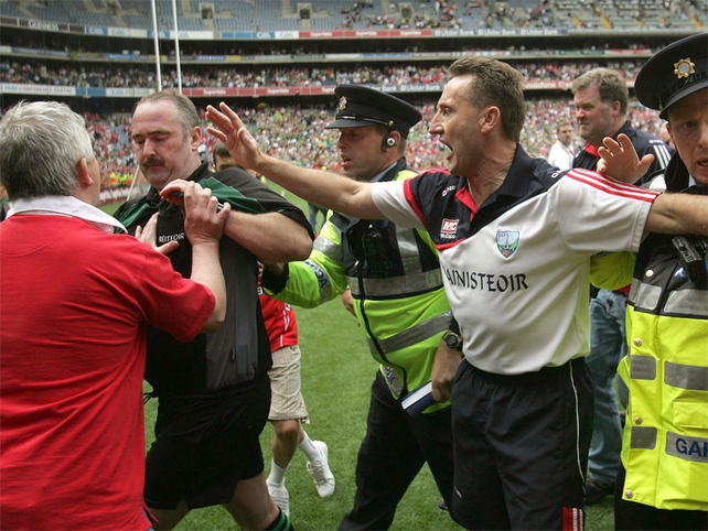 Referee Martin Sludden was attacked by spectators as he left the pitch