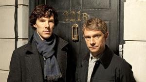 Benedict Cumberbatch and Martin Freeman as Sherlock and Dr. Watson