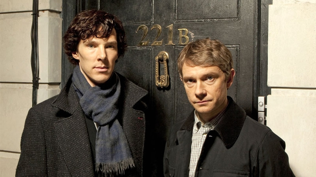 Benedict Cumberbatch as Sherlock and Martin Freeman as Dr. Watson