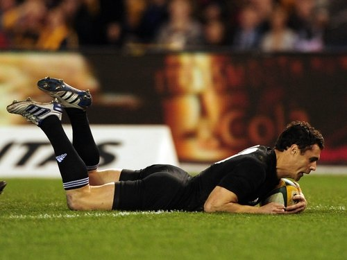 Dan Carter crosses the line for New Zealand's opening try in Melbourne