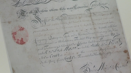 Ship's pass - Document dates from 1687