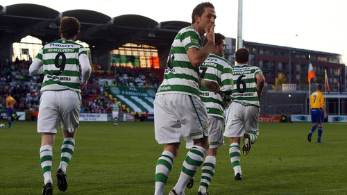 Billy Dennehy celebrates as the Hoops saw off the Bray challenge