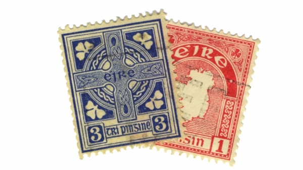 Two of the first stamps issued by the Irish Free State