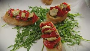 Catherine Fulvio's Artichoke and Red Pepper Bruschetta