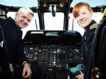 Pilot Lee Bennett and Captain Dara Fitzpatrick